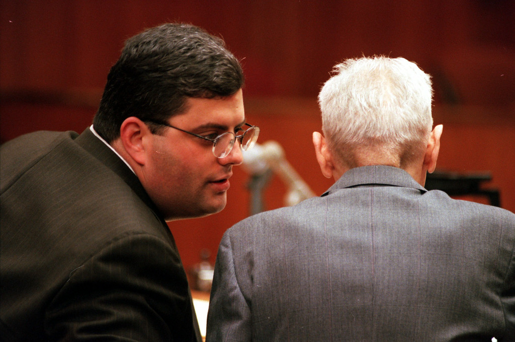 . David Gorosh,left,  defence advisor chats with Doctor Jack Kevorkian during closing statement before Oakland County Circuit Judge Jessica Cooper. Kevorkian is chared with first-degree murder for the lethal injection death of Thomas Youk.