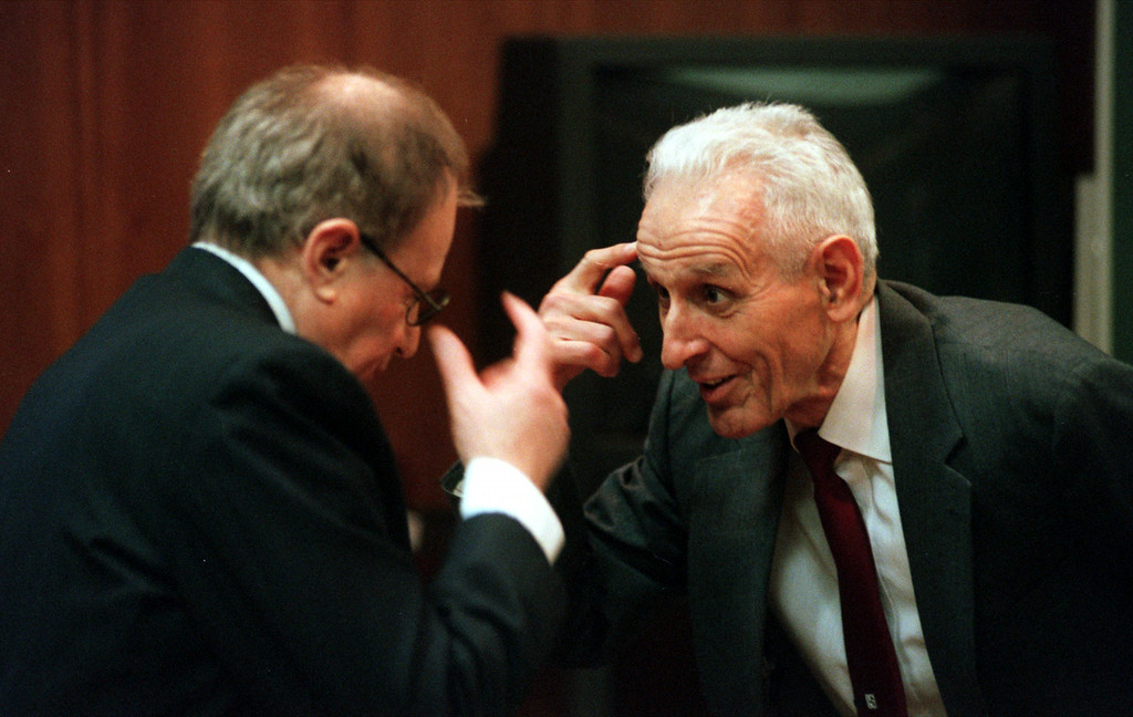 . Doctor Jack Kevorkian, right,  chats with Mayer Morganroth during a short recess of the Kevorkian first-degree murder trail before Oakland County Circuit Judge Jessica Cooper. Kevorkian is chared with first-degree murder for the lethal injection death of Thomas Youk.
