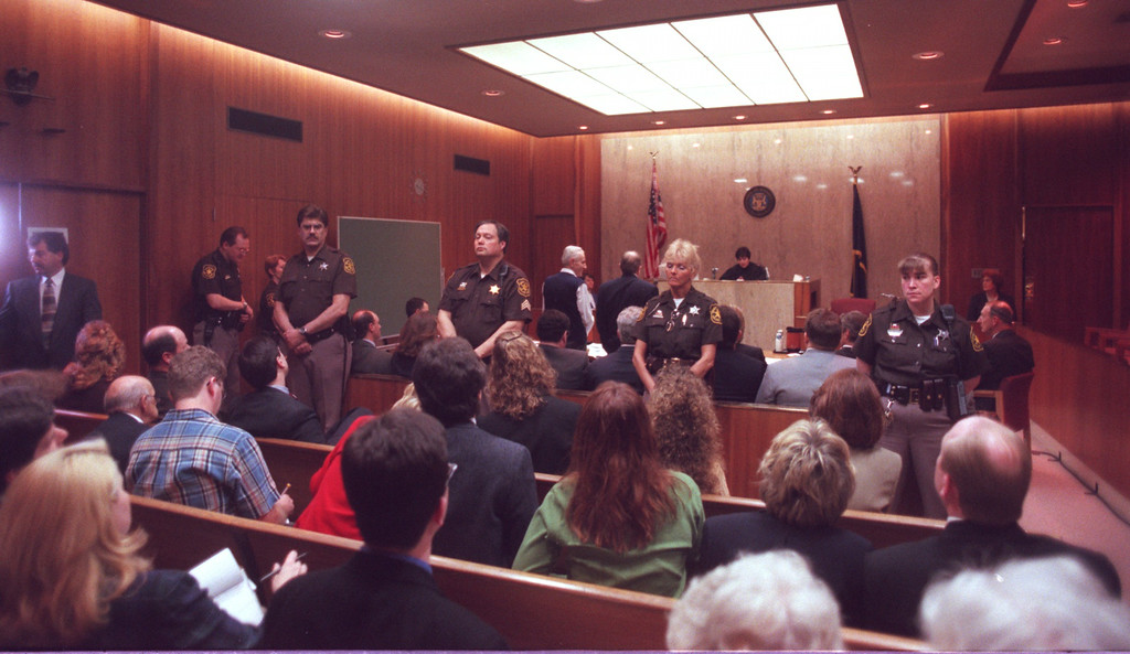 . Dr. Jack Kevorkian is sentenced in his murder trial in Pontiac, Mich., Tuesday, April 13, 1999. Judge Jessica Cooper sentenced Kevorkian to 10 to 25 years for the videotaped assisted-suicide death of Thomas Youk of Waterford Township, Mich., which was shown on CBS\'s \'60 Minutes.\'