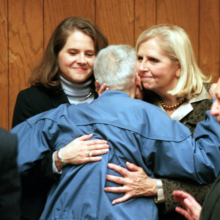 . Dr. Jack Kevorkian Arraignment. Sarah Holmes and mother Ruth Holmes congradulate Dr. Jack Kevorkian for being released on personal bond, after his arraignment in 51st District Court in Waterford.