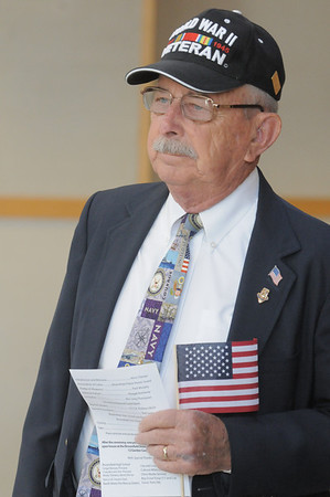World War II veteran Harland Smith, 86, waits to attend the Broomfield Veteran's Memorial Museum's annual Veterans Day ceremony at Broomfield High School on Friday.<br /> <br /> <br /> November 11, 2011<br /> staff photo/ David R. Jennings