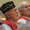 US Navy World War II veteran Wayne Burt, left, and Jim Sparks listen to the keynote address during the Broomfield Veteran's Memorial Museum's annual Veterans Day ceremony at Broomfield High School on Friday.<br /> <br /> <br /> November 11, 2011<br /> staff photo/ David R. Jennings