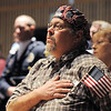 Bruce Tansey, 49, salutes during the Broomfield Veteran's Memorial Museum's annual Veterans Day ceremony at Broomfield High School on Friday. Tansey's cousin died in Vietnam and his uncle served in World War II surviving from D-Day to the final assault on Berlin with out a scratch.  <br /> <br /> <br /> November 11, 2011<br /> staff photo/ David R. Jennings