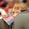 Ethan Cline, 6, watches a listens to the 101st Army National Guard Band play during the Broomfield Veteran's Memorial Museum's annual Veterans Day ceremony at Broomfield High School on Friday.<br /> <br /> <br /> November 11, 2011<br /> staff photo/ David R. Jennings