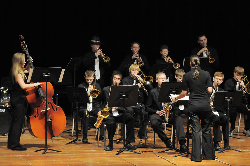 The Broomfield High School Jazz Band performs during the Broomfield Veteran's Memorial Museum's annual Veterans Day ceremony at Broomfield High School on Friday.<br /> <br /> <br /> November 11, 2011<br /> staff photo/ David R. Jennings