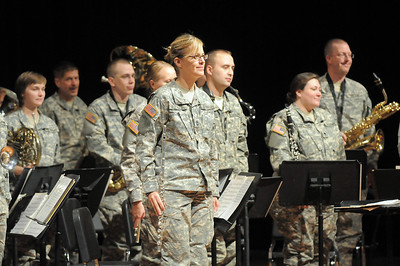 The 101st Army National Guard Band stands at attention after their performance at the Broomfield Veteran's Memorial Museum's annual Veterans Day ceremony at Broomfield High School on Friday.  November 11, 2011 staff photo/ David R. Jennings