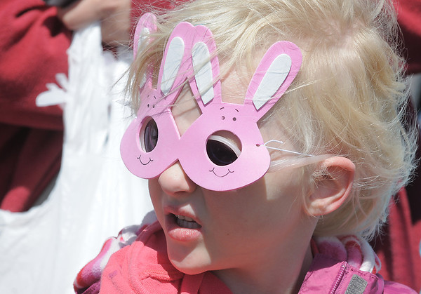 Hayley Smith, 5, came prepared with bunny glasses for the 18th Annual Eggstravaganza Egg Scramble at John Shaw Field in Community Park on Saturday.<br /> April 7, 2012 <br /> staff photo/ David R. Jennings