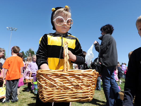 Blake Niemann, 6, dressed as a bee for the 18th Annual Eggstravaganza Egg Scramble at John Shaw Field in Community Park on Saturday.<br /> April 7, 2012 <br /> staff photo/ David R. Jennings