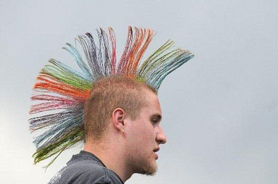 Brendan Hajek, 16, sported a brightly colored Mohawk for Broomstock.<br /> Photo: David Jennings