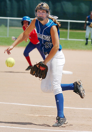 Birmingham Mustangs' Grace Morrissette pitches agains the Texas Glory during 2011 the Colorado Fireworks Softball Tournament 14U softball championship game at Community Park on Monday.<br /> <br /> July 4, 2011<br /> staff photo/ David R. Jennings
