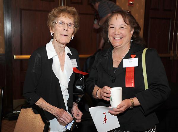 Jane Spain, left,  and Kathy Klatt at  the  2012 Heart of Broomfield Award ceremony at the Omni Interlocken Resort on Monday.<br /> <br /> <br /> April 9, 2012 <br /> staff photo/ David R. Jennings