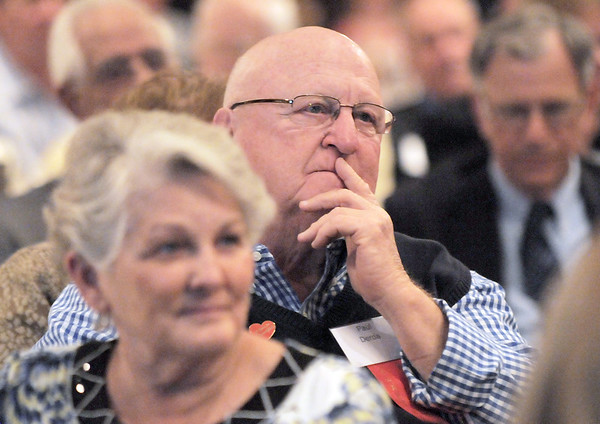 Paul and Martha Derda listen to speeches during the  2012 Heart of Broomfield Award ceremony at the Omni Interlocken Resort on Monday.<br /> <br /> <br /> April 9, 2012 <br /> staff photo/ David R. Jennings