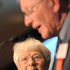 Jean Markel watches her husband Dr. Bill Markel give his acceptance speech for the Heart of Broomfield Philanthropy award during the  2012 Heart of Broomfield Award ceremony at the Omni Interlocken Resort on Monday.<br /> <br /> <br /> April 9, 2012 <br /> staff photo/ David R. Jennings