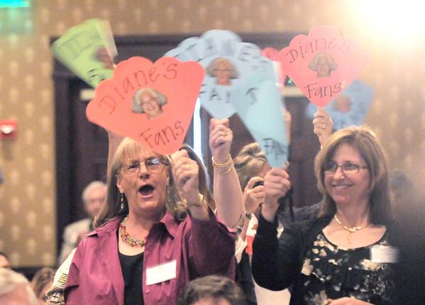 Fans of Heart of Broomfield Education award winner,Diane Etsuko Johnson, wave their fans during the  2012 Heart of Broomfield Award ceremony at the Omni Interlocken Resort on Monday.<br /> <br /> <br /> April 9, 2012 <br /> staff photo/ David R. Jennings