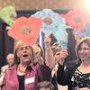 Fans of Heart of Broomfield Education award winner,Diane Etsuko Johnson, wave their fans during the  2012 Heart of Broomfield Award ceremony at the Omni Interlocken Resort on Monday.<br /> <br /> <br /> April 9, 2012 <br /> staff photo/ David R. Jennings