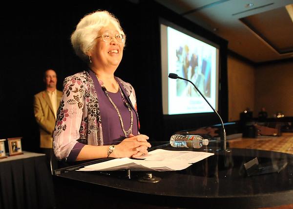 Heart of Broomfield Education winner Diane Etsuko Johnson gives her acceptance speech during the  2012 Heart of Broomfield Award ceremony at the Omni Interlocken Resort on Monday.<br /> <br /> <br /> April 9, 2012 <br /> staff photo/ David R. Jennings