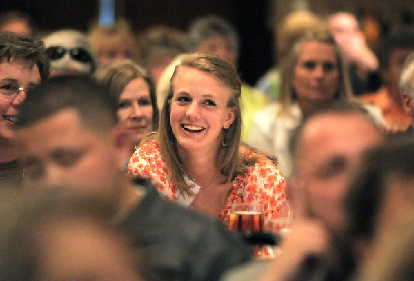 Micaela Blanchard was all smiles for her father, Greg, who recieved the Angel Award during the  2012 Heart of Broomfield Award ceremony at the Omni Interlocken Resort on Monday.<br /> <br /> <br /> April 9, 2012 <br /> staff photo/ David R. Jennings