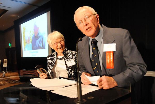 Heart of Broomfield Philanthropy winner Dr. Bill Markel, right, gives his acceptance speech with his wife, Jean, during the  2012 Heart of Broomfield Award ceremony at the Omni Interlocken Resort on Monday.<br /> <br /> April 9, 2012 <br /> staff photo/ David R. Jennings