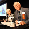 Heart of Broomfield Philanthropy winner Dr. Bill Markel, right, gives his acceptance speech with his wife, Jean, during the  2012 Heart of Broomfield Award ceremony at the Omni Interlocken Resort on Monday.<br /> <br /> April 9, 2012 <br /> staff photo/ David R. Jennings