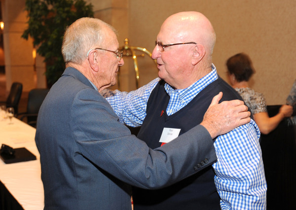 Philanthropy award winner Dr. Bill Markel, left, chats with Paul Derda after the  2012 Heart of Broomfield Award ceremony at the Omni Interlocken Resort on Monday.<br /> <br /> <br /> April 9, 2012 <br /> staff photo/ David R. Jennings