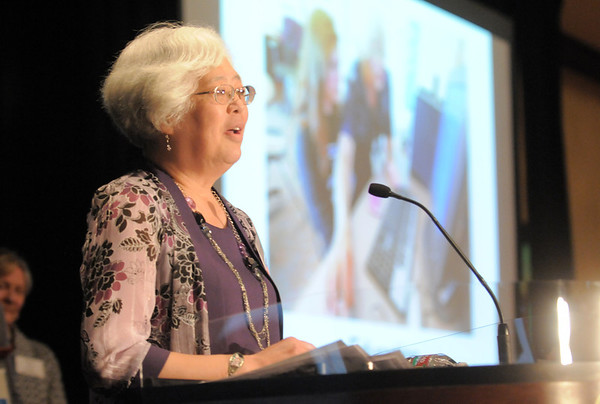 Heart of Broomfield Education winner Diane Etsuko Johnson addresses the audience during the  2012 Heart of Broomfield Award ceremony at the Omni Interlocken Resort on Monday.<br /> <br /> <br /> April 9, 2012 <br /> staff photo/ David R. Jennings