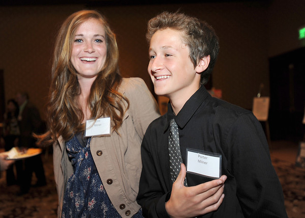 Ellie MIlner and her brother Porter attended the  2012 Heart of Broomfield Award ceremony in support of their mother, Fran, the Arts award winner at the Omni Interlocken Resort on Monday.<br /> <br /> <br /> April 9, 2012 <br /> staff photo/ David R. Jennings