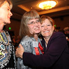 Heart of Broomfield Arts winner Fran Milner, right, gets a hug from her friends Debby Middel-Katzenmeyer, left, and Wendy Fiedler after the  2012 Heart of Broomfield Award ceremony at the Omni Interlocken Resort on Monday.<br /> <br /> <br /> April 9, 2012 <br /> staff photo/ David R. Jennings