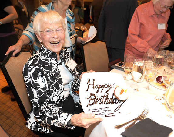 Jean Markel shows her birthday cake she received at the after her husband, Dr. Bill Markel, won the Heart of Broomfield Philanthropy award at the  2012 Heart of Broomfield Award ceremony at the Omni Interlocken Resort on Monday.<br /> <br /> <br /> April 9, 2012 <br /> staff photo/ David R. Jennings