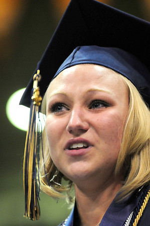 Jordyn Johnson gives the class speech during Legacy High School's graduation ceremony at Coors Event Center at the University of Colorado on Monday.<br /> <br /> May 14, 2012 <br /> staff photo/ David R. Jennings