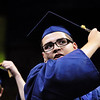 Jeremy Chavez turns his tassle during Legacy High School's graduation ceremony at Coors Event Center at the University of Colorado on Monday.<br /> <br /> May 14, 2012 <br /> staff photo/ David R. Jennings