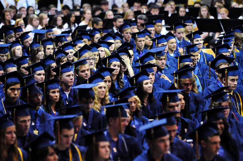 The class of 2012 listens to speeches during Legacy High School's graduation ceremony at Coors Event Center at the University of Colorado on Monday.<br /> <br /> May 14, 2012 <br /> staff photo/ David R. Jennings