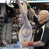 Broomfield High's Phil Downing arms are raised after defeating Roosevelt High's Jace Lopez in the 138 lbs 4A championship match during the 2012 State Wrestling Tournament Saturday at the Pepsi Center in Denver.<br /> February 18, 2012<br /> staff photo/ David R. Jennings