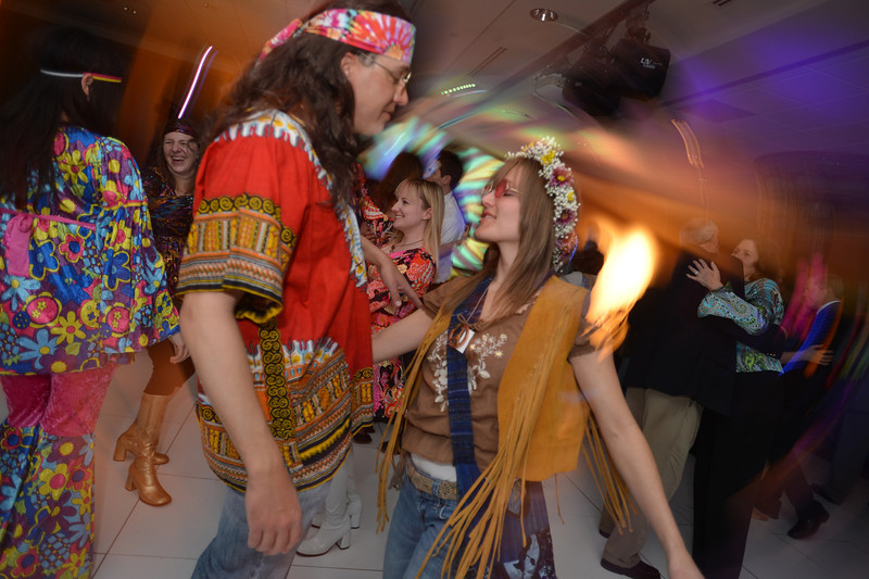 "Chad and Sara Pringle dance to the music of Chris Daniels and the Kings during the 48th annual Bal Swan Ball on Saturday.  567 people attended the ball with the 1960's theme of ""Peace, Love and Bal Swan"" at the Omni Interlocken Hotel Resort.<br /> March 2, 2013<br /> staff photo/ David R. Jennings"