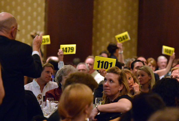 Attendees place bids during the paddle auction at the 48th annual Bal Swan Ball at the Omni Interlocken Hotel Resort on Saturday.<br /> March 2, 2013<br /> staff photo/ David R. Jennings