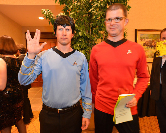"Ryan Seabury, left, and Jake Pearson dressed as Star Trek officers for the 48th annual Bal Swan Ball with the 1960's theme of ""Peace, Love and Bal Swan"" at the Omni Interlocken Hotel Resort on Saturday.<br /> March 2, 2013<br /> staff photo/ David R. Jennings"