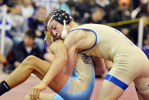 Broomfield's Darek Huff wrestles Greeley West'sAnthony Ramirez in the 106 pound weight class in the championship match at Centaurus High  on Saturday.<br /> January 26, 2013<br /> staff photo/ David R. Jennings