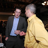 Basketball head coach Terrance Dunn, left, talks with Derek Seifried during the 3rd annual Eagle Sports Gala for Broomfield High School Athletics at the Church Ranch Event Center on Friday.<br /> March 16,  2012 <br /> staff photo/ David R. Jennings