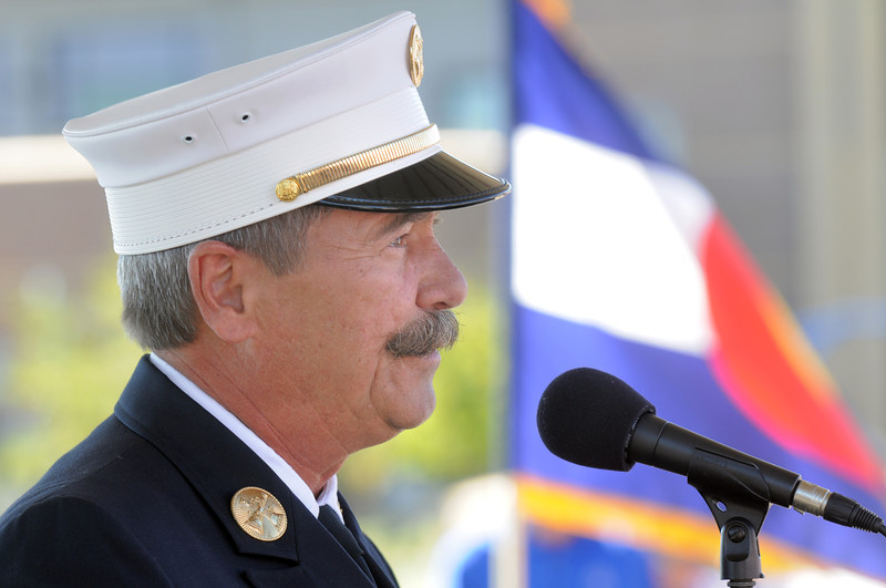 Jack McDonnell, retired Battalion Chief with the New York Fire Department speaks during the 9/11 Commemorative Ceremony at the 9/11 Memorial in Community Park on Sunday.<br /> September 11, 2011<br /> staff photo/ David R. Jennings