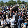 Hundreds of people gather around the sculptures of the  9/11 Memorial after the 9/11 Commemorative Ceremony at Community Park on Sunday.<br /> September 11, 2011<br /> staff photo/ David R. Jennings