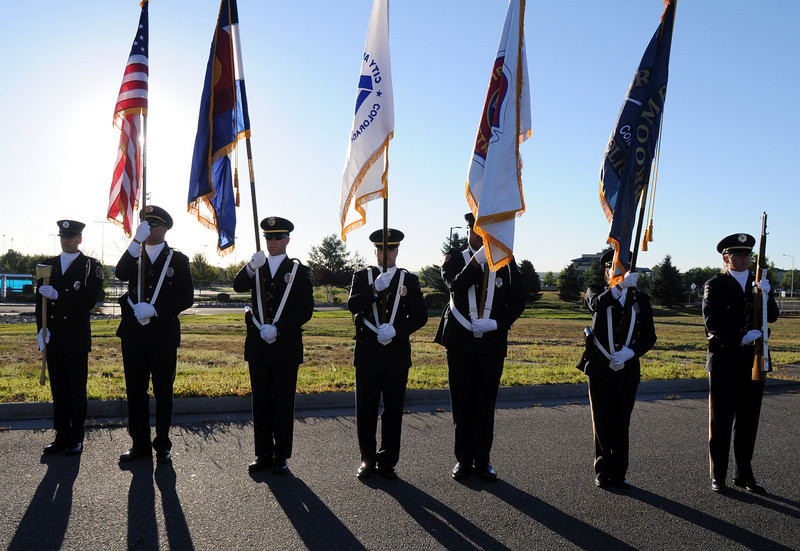 BE0919NINE02<br /> The combined Broomfield Police and North Metro Honor Guard stand at attention during the ceremony at the 9/11 Memorial on Saturday.<br /> <br /> September 11, 2010<br /> staff photo/David R. Jennings
