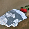 A t-shirt honoring Deora Bodley who died on Flight 93 was placed at the memorial by her friend Joshua Miller after the 9/11 ceremony at the 9/11 Memorial at Community Park on Tuesday.<br /> September 11, 2012<br /> staff photo/ David R. Jennings