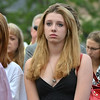Juliet Faughnan, 15, daughter of Chris Faughnan who died in the 9/11 attacks,  listens  during the 9/11 ceremony at the 9/11 Memorial at Community Park on Tuesday.<br /> September 11, 2012<br /> staff photo/ David R. Jennings