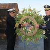 Fire Chief Joe Bruce and Police Chief Tom Deland lay a wreath during the ceremony at the 9/11 Memorial in Community Park in Broomfield on Friday.<br /> <br /> Sept. 11, 2009<br /> Staff photo/David R. Jennings