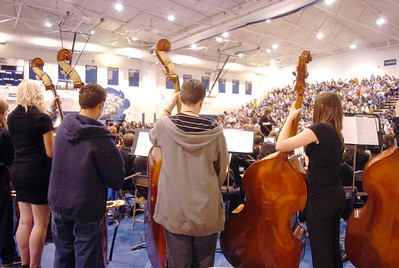 The double bass section of the High School Concert Orchestra perfom during the Adams 12 Five Stars Schools Orchestra Festival at Legacy High School on Saturday. For more photos please see broomfieldenterprise.com. December 3, 2011 staff photo/ David R. Jennings