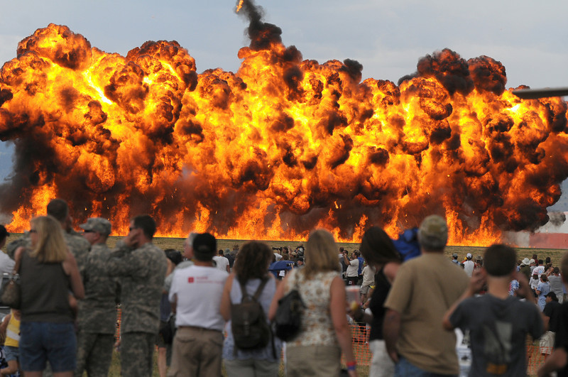 A wall of fire goes up during the F-16 performance at Saturday's Colorado Sport International Airshow at Rocky Mountain Metropolitan Airport.<br /> August 28, 2010<br /> staff photo/David R. Jennings