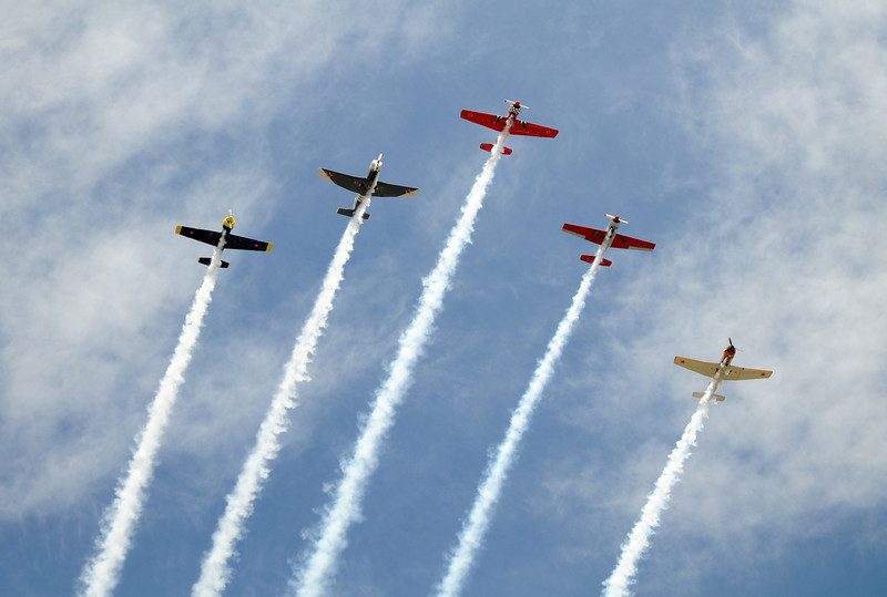 The Red Stars flight team does a flyby during Saturday's Colorado Sport International Airshow at Rocky Mountain Metropolitan Airport.<br /> August 28, 2010<br /> staff photo/David R. Jennings