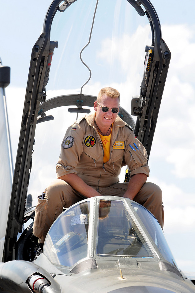 German Air Force pilot Axel Hoppe sits in the cockpit of his Tornado during Saturday's Colorado Sport International Airshow at Rocky Mountain Metropolitan Airport.<br /> August 28, 2010<br /> staff photo/David R. Jennings
