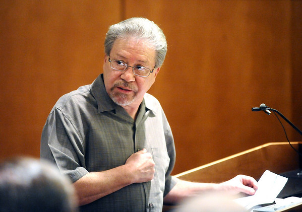 Gene Chavez, the father of Alexander Pacheco, addresses the Shannon family during Pacheco's plea and sentencing hearing on Monday. Pacheco received 48 years in prison after pleading guilty to second-degree murder in the death of Kelsey Shannon of Broomfield. <br /> Photo by Marty Caivano/Camera/April 26, 2010