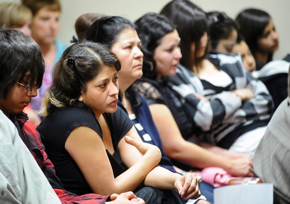 Friends and family of Alexander Pacheco listen during his plea and sentencing hearing on Monday. Pacheco received 48 years in prison after pleading guilty to second-degree murder in the death of Kelsey Shannon of Broomfield. <br /> Photo by Marty Caivano/Camera/April 26, 2010