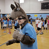 Second grade teacher Jaclyn Workman, dressed as a coyote, the school's mascot , helps lead a cheer during Aspen Creek's 10th anniversary celebration assembly on Friday.<br /> May 21, 2010<br /> Staff photo/ David R. Jennings